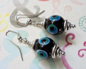 Black, Aqua and White Ethnic Earrings (3230)