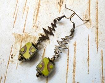 Chartreuese Green Lightening Bolt Boho Earrings (3326)