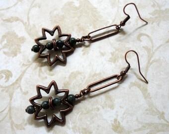 Forest Green Jasper and Copper Sunburst Earrings (3401)