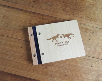 Guest Book Wedding. Custom Wood Guestbook. Photo Album. Engagement Gift : dinosaurs