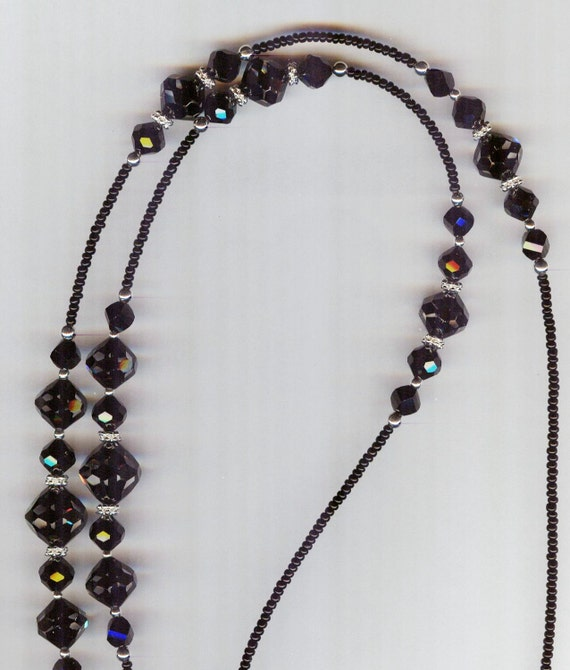 """RARE Swarovski Cosmo Jet & Black Jet Faceted Crystal Glass Eyeglass Chain 30"""" READY to SHIP"""
