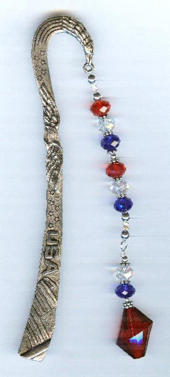 Swarovski Red White Blue Faceted Crystal Silver Pewter Beaded Bookmark GREAT gift!
