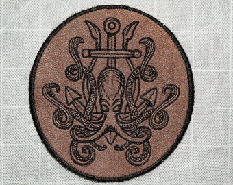 """Release the Kraken Iron on Patch on Cowhide Leather 4.25"""" x 4 .65"""""""