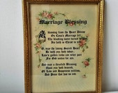 Vintage Marriage Blessing Religious Wall Art Print in Gold Wood Frame By H-N.Y., Watercolor Gothic Calligraphy