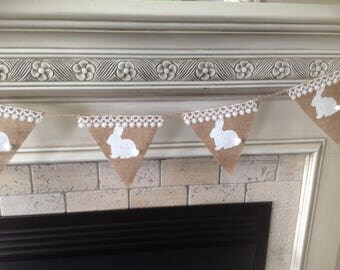 Happy Easter Banner. Easter Banner, Easter decor. Burlap and lace banner