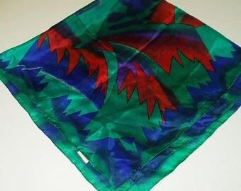 Vintage Silk Scarf Green Blue Hand Rolled Hem Retro Fashion Head Scarf Neck Purse Kerchief Scarf Accessory