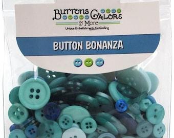 Bulk Button Assortment 8 oz Mixed Sewing Buttons Lot Waterfall Teal Green Light Green Embellishment Trims
