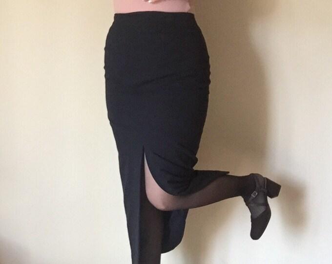 high waist slit 90s stretch navy blue MIDI PENCIL skirt womens minimalist goth preppy professional work SKIRT 5 6 7 pockets chic