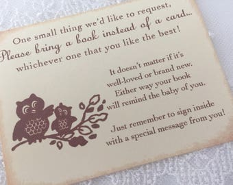 Bring a Book Insert Card Baby Shower Invitation Insert Owl Set of 10