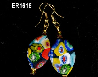 Millefiori Earrings, Vintage Venetian Murano Earrings, ER1451.ER1616