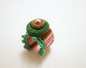 Crochet Lace Jewelry (Lace Fantasia 3-a) Crochet Ring Statement Ring Fiber Ring