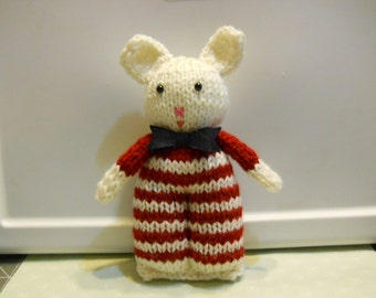 Knitted Bear in Red and Cream Stripes, Stuffed Bear Toy,  Stuffed Animal for Children, Small Soft Bear, Child's Birthday Gift