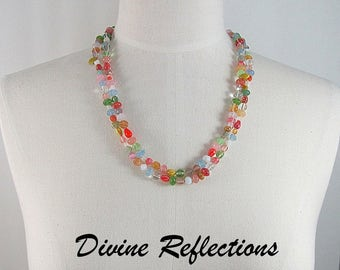Multi Color Necklace,Knotted Rainbow Necklace, Double Strand Necklace