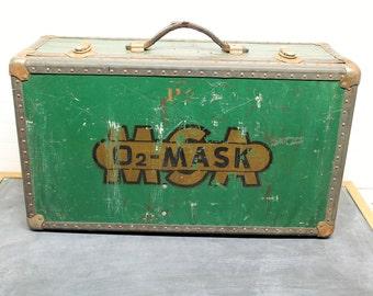 Vintage O2 Mask Trunk, Industrial Trunk, Storage Trunk