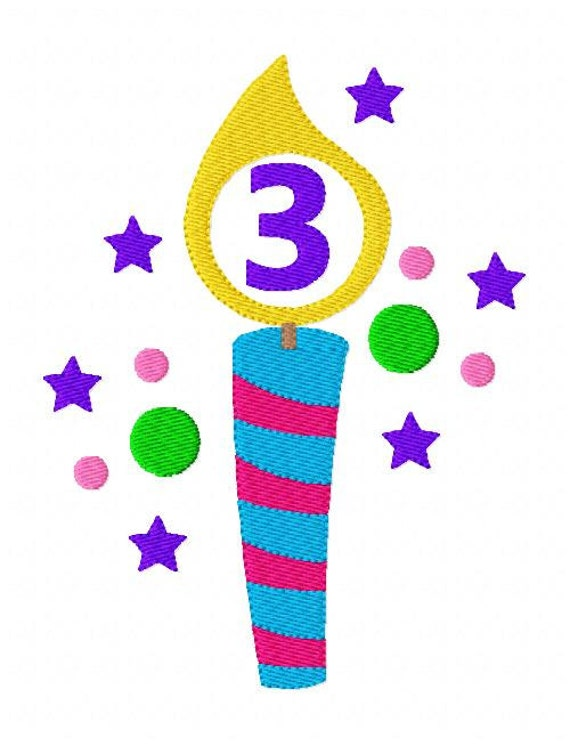 Birthday candle numbers machine embroidery design