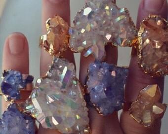 HOLIDAY SALE AQUA Aura /// Crystal Quartz Cluster Ring /// Celestial Aura