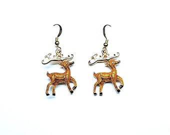 Gold / Brown Glitter Reindeer Earrings