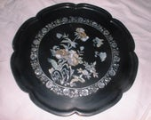 Antique Lacquer Ware TRAY Shell INLAID Flowers JAPAN