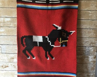Vintage Mexican Wool Serape Rug/Wall Hanging Red Striped With Burro/Donkey
