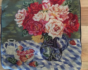 Vintage Needlepoint unfilled Pillow  Beautiful Red Pink and Orang Roses in a Pot. The back is navy blue velveteen.
