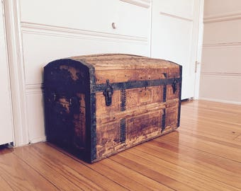Antique Dome Top Wood Trunk