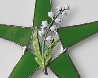 Lily of the Valley star - 7 inch green art glass star with hand painted brass lily of the valley