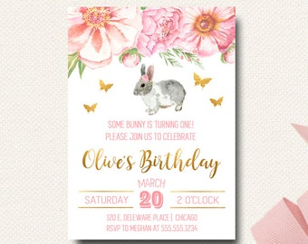Some Bunny Birthday Invitation | Easter Birthday | Spring Girls Invitation Pink Peonies | Floral Pink and Gold
