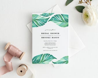 Tropical Bridal Shower Invitation, Tropical Leaf Wedding Invitation, Palm Tree Leaf Bridal Shower Invite, Hawiian Bridal Shower Invitation