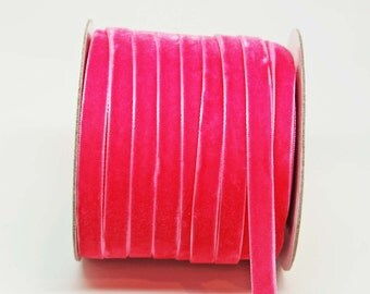 Velvet Woven Ribbon Trim -- 3/8 inches -- Lipstick Pink