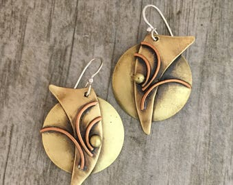 Mixed Metal earrings, Brass jewelry, Regina Marie Designs, Solar Flare style, one if a kind, hand made jewelry