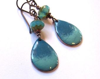 Wire wrapped aqua enamel earrings Small blue drops Mixed media teardrop niobium dangles Enameled copper vintage style jewelry