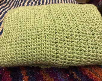 Solid colour crochet throw blanket any size