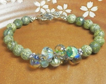 Green Jasper Bracelet with Handmade Glass Beads and Sterling Silver Leaf Clasp