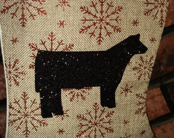 Red and tan burlap stocking glitter snowflake with black glitter steer or custom