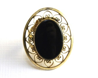 "Vintage 12K Gold Filled Black Onyx Ring - Heart Frame - Black Glass - 1 1/2"" High - Adjustable"
