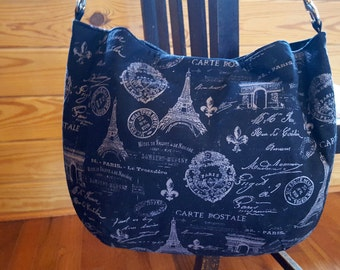 French Themed Paris Handbag Black Gray Grey