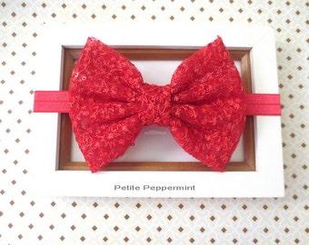 Red Baby headband, baby girl headband, baby bow headband, toddler headband, Big Bow Headband, Newborn Headband, Red Girl Hair Bow
