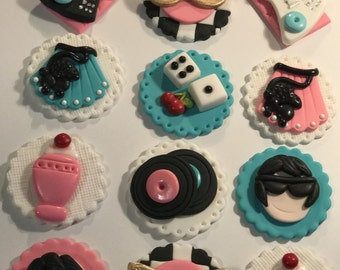 Fondant Rock and Roll 50's Party Cupcake, Cake, Cookie Toppers. Includes 12.