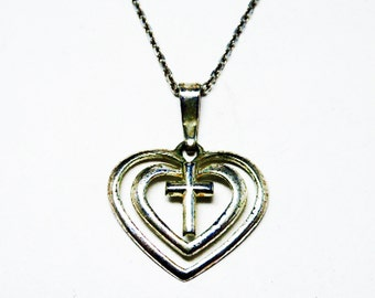 Sterling Silver Heart & Cross Pendant Necklace - Love and Faith Modernist Pendant - Sterling Silver Chain - Signed SU 925 TH - Vintage 1990s