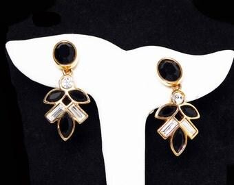 Swarovski Rhinestone Dangling Pierced Earrings - Black Faceteds Rhinestone & Clear Baguette Rhinestones - Signed S.A.L. - Vintage 1990