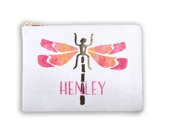 Dragonfly Personalized Lined Cosmetic Bag Monogrammed Makeup Bag Personalized Bridesmaid Gift Bag Personalized Coin Purse Canvas Tote