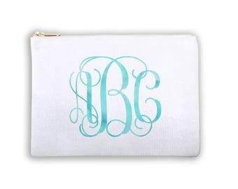 Vine Monogram Personalized Lined Cosmetic Bag Monogrammed Makeup Bag Personalized Bridesmaid Gift Bag Personalized Coin Purse Bridal Bag