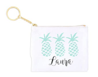 3 Pineapples Personalized Card Key Fob Coin Purse Monogrammed Coin Purse Personalized Bridesmaid Gift Personalized Coin Purse Birthday Gift