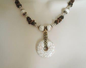 Magnesite Necklace, boho jewelry gypsy jewelry bohemian jewelry hipster jewelry hippie metaphysical new age boho necklace moroccan necklace