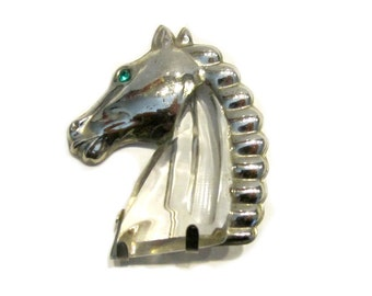"""Vintage Jelly Belly Horse Head Brooch Silver Lucite Collectors Jewelry Pin 2 1/4"""" Large Horse Jewelry S. Packales & Co NYC 1940s"""