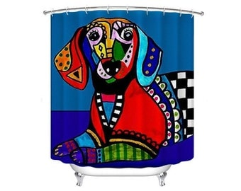 Dachshund Shower Curtain Doxie Dog Shower Curtain   Dog Lovers Bathroom  Decor Gift By Heather Galler