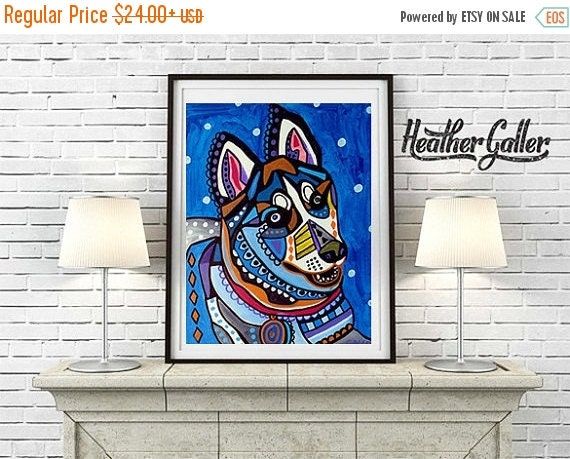 50% Off Today- Siberian Husky Art Gift Dog  Art Print Poster by Heather Galler (HG839)