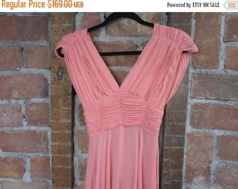 On Sale 1930s Coral Gown. Greta Garbo Dress. XS