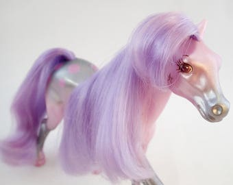 vintage 80s Fashion Star Fillies Filly Corinne Purple pearlescent Pearly Pony Horse Mare Pastel Figure