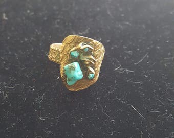 gold and torquoise ring